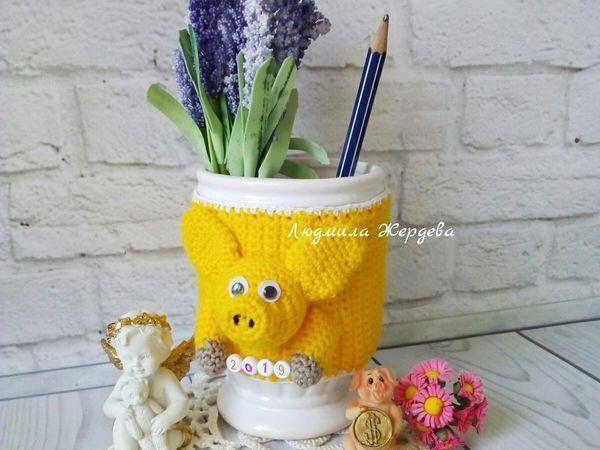 Вяжем крючком карандашницу свинку | Ярмарка Мастеров - ручная работа, handmade