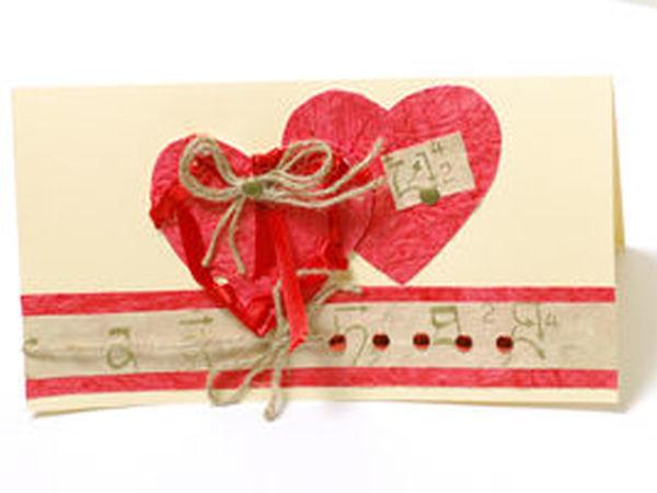 Изготовленые открытки из декоративной бумаги - «Любящие сердечки» | Ярмарка Мастеров - ручная работа, handmade
