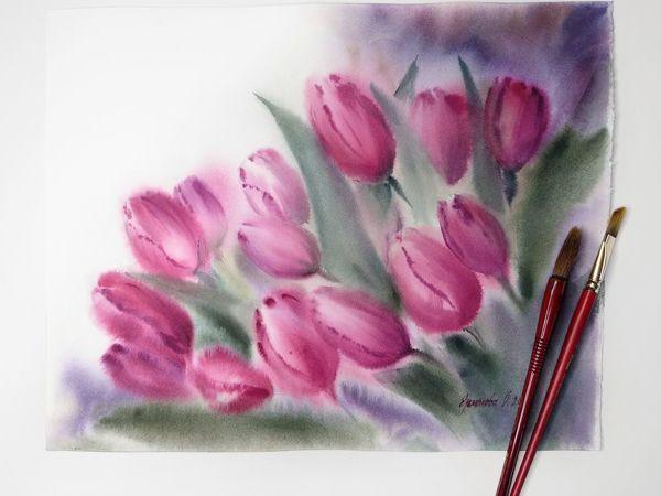 Видео обзор картины с розовыми тюльпанами | Ярмарка Мастеров - ручная работа, handmade