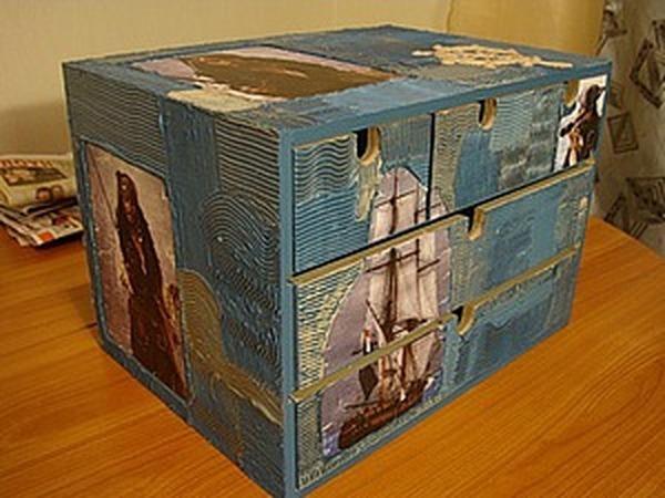 Шпатлевка по дереву при декупаже мини-комода   Ярмарка Мастеров - ручная работа, handmade