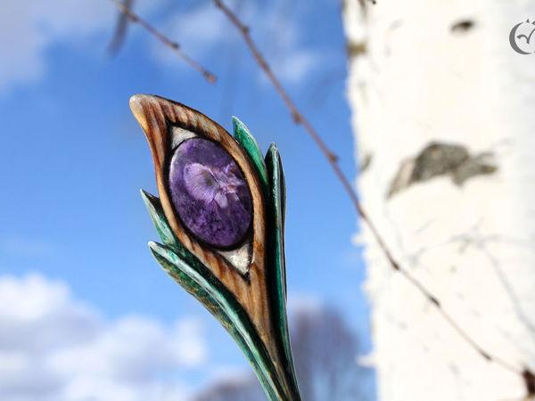 Шпилька  «Око леса»  c чароитом   Ярмарка Мастеров - ручная работа, handmade