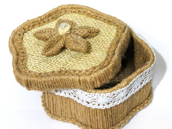 Коробочка из мешковины и джута | Ярмарка Мастеров - ручная работа, handmade