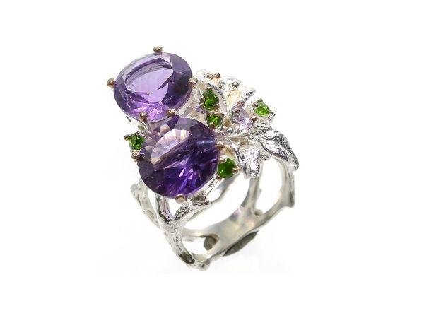 Серебряное кольцо с аметистами, размер 17 | Ярмарка Мастеров - ручная работа, handmade