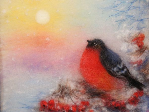 Creating a Snowbird Picture in the Wool Watercolour Technique   Livemaster - handmade