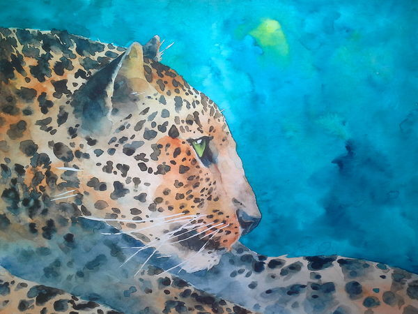 Рисуем леопард акварелью. Видео мастер-класс   Ярмарка Мастеров - ручная работа, handmade