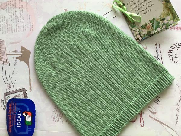Весенняя шапка-бини спицами | Ярмарка Мастеров - ручная работа, handmade