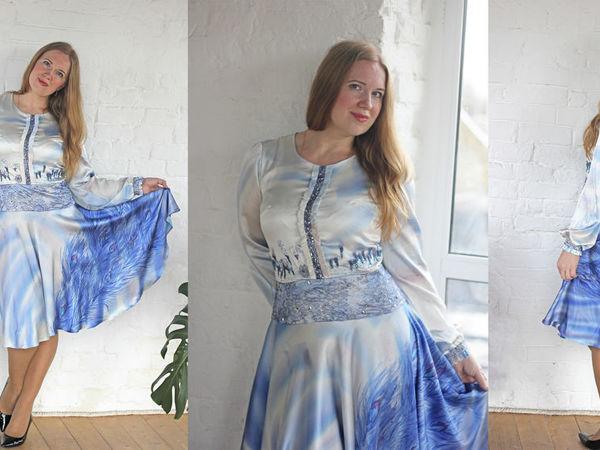 Шелковое платье  «Синяя птица счастья» | Ярмарка Мастеров - ручная работа, handmade