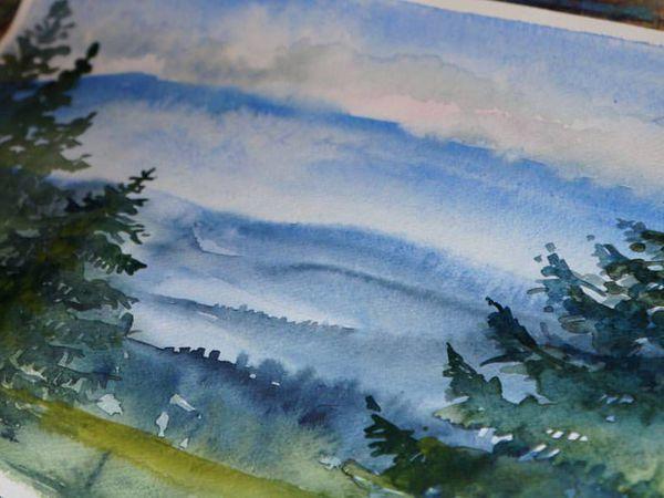 Видео мастер-класс: пишем горный пейзаж акварелью | Ярмарка Мастеров - ручная работа, handmade