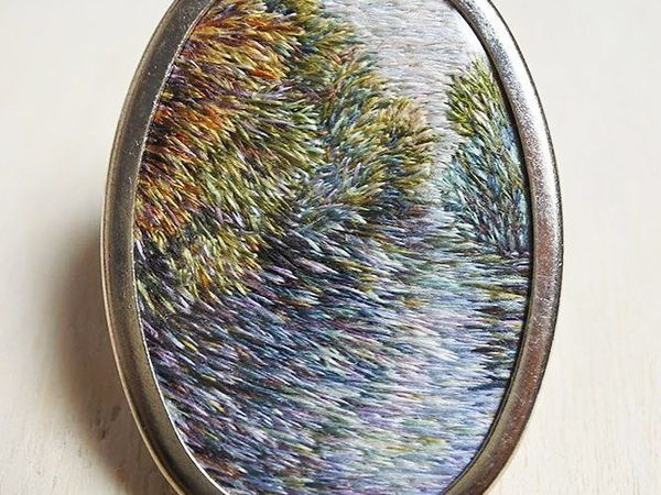 Вышитые броши с пейзажами Ирландии от мастерицы Eveline de Lange | Ярмарка Мастеров - ручная работа, handmade