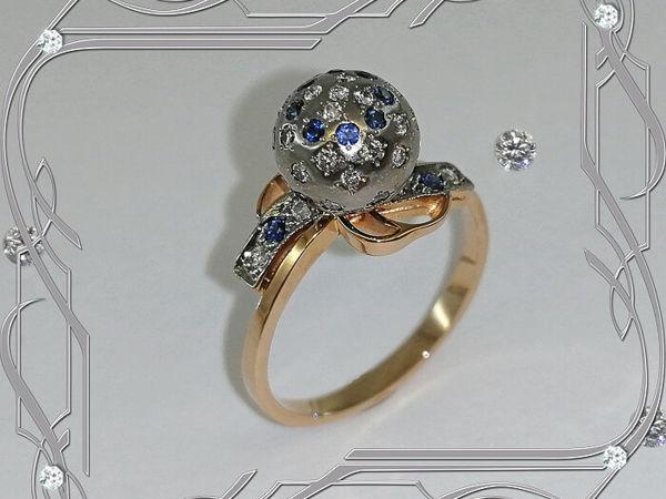 Кольцо «Бриллиантовый ШАР» золото 585, бриллианты, сапфиры | Ярмарка Мастеров - ручная работа, handmade