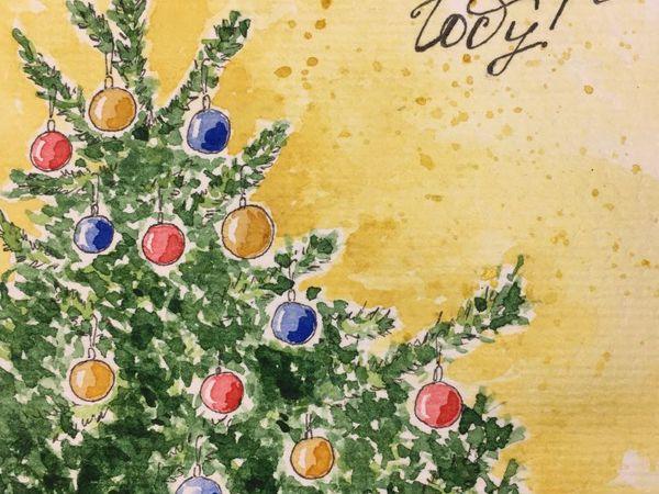 Создаем новогоднюю акварельную открытку: Новогодняя Елка   Ярмарка Мастеров - ручная работа, handmade