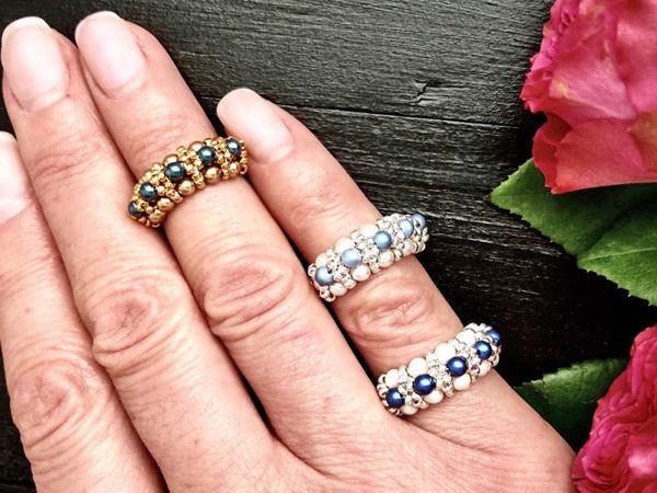 Создаем кольцо из бисера и жемчуга Swarovski! | Ярмарка Мастеров - ручная работа, handmade