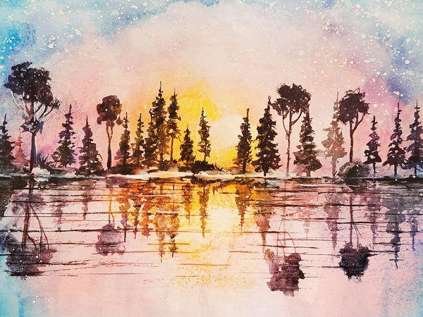 Рисунок акварелью  «Разноцветный закат»  | Ярмарка Мастеров - ручная работа, handmade