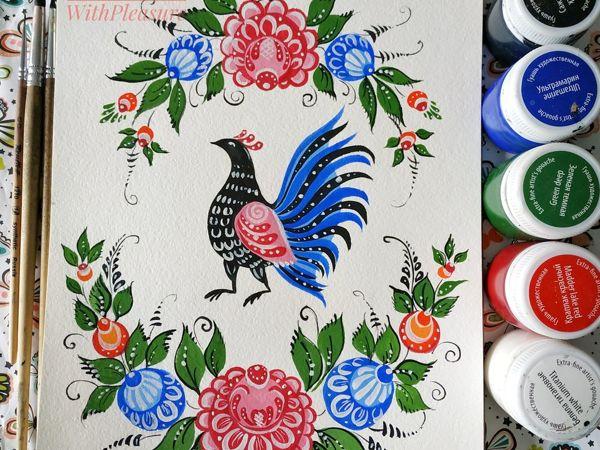 Как научиться рисовать птичку в стиле «Городецкой росписи». Часть 2 | Ярмарка Мастеров - ручная работа, handmade