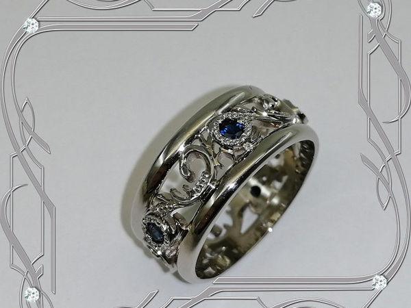 Кольцо «Обручальные кольца-ЭКСКЛЮЗИВ» серебро 925, сапфиры, родий | Ярмарка Мастеров - ручная работа, handmade