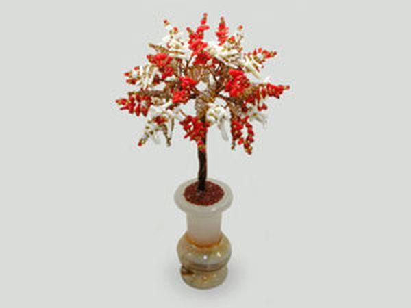 Добавлено новое изделие: Дерево счастья из красного и белого коралла   Ярмарка Мастеров - ручная работа, handmade