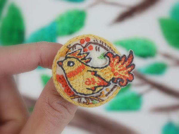 Вышиваем гладью славянскую брошь «Птица счастья» | Ярмарка Мастеров - ручная работа, handmade