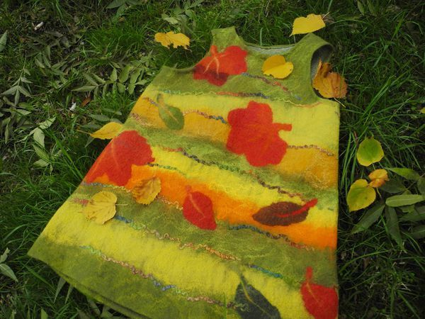 Валяный детский сарафанчик «Листопад» | Ярмарка Мастеров - ручная работа, handmade