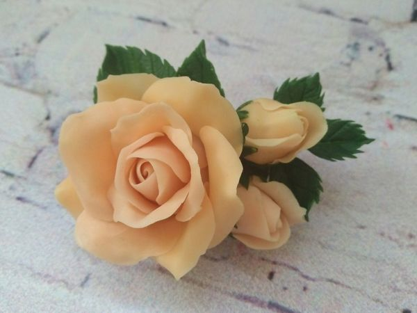 How to Make a Rose Brooch of Cold Porcelain | Livemaster - handmade