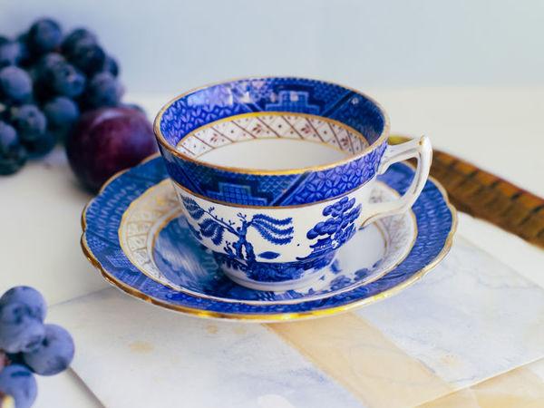 Антикварная чайная пара двойка Real Old Willow Booths Англия | Ярмарка Мастеров - ручная работа, handmade