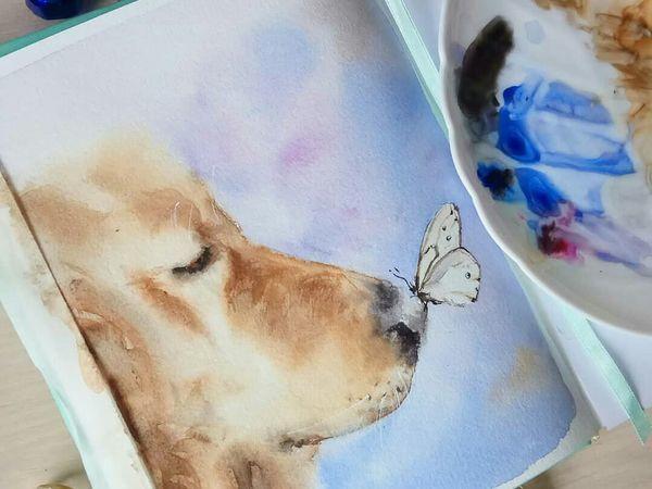 Рисуем акварелью нежную и теплую картину «Пес и бабочка» | Ярмарка Мастеров - ручная работа, handmade