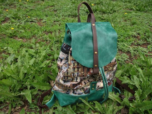 Рюкзак из кожи и гобелена 4.Изумрудный город | Ярмарка Мастеров - ручная работа, handmade