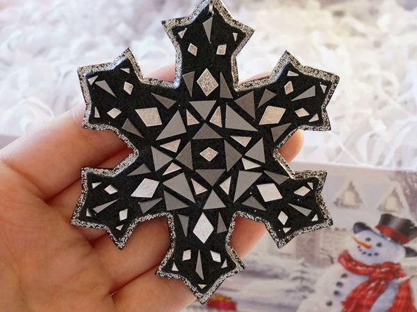 Лепим ёлочную игрушку-снежинку из полимерной глины   Ярмарка Мастеров - ручная работа, handmade