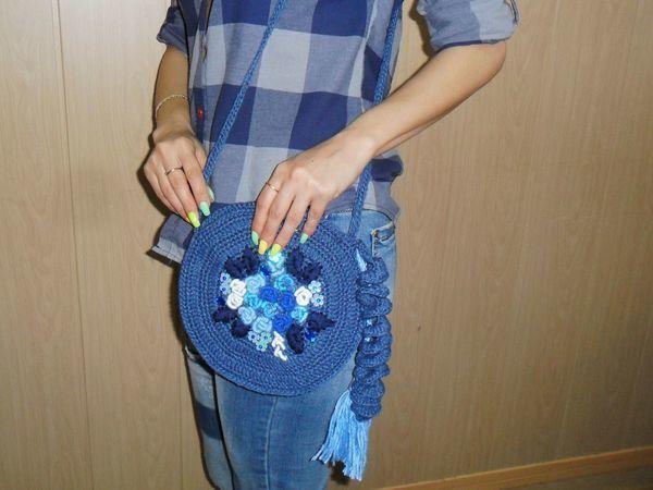 Летняя вязаная сумка с вышивкой | Ярмарка Мастеров - ручная работа, handmade