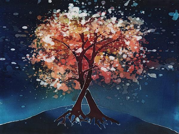 Два сплетенных дерева и восход в технике горячего и холодного батика | Ярмарка Мастеров - ручная работа, handmade
