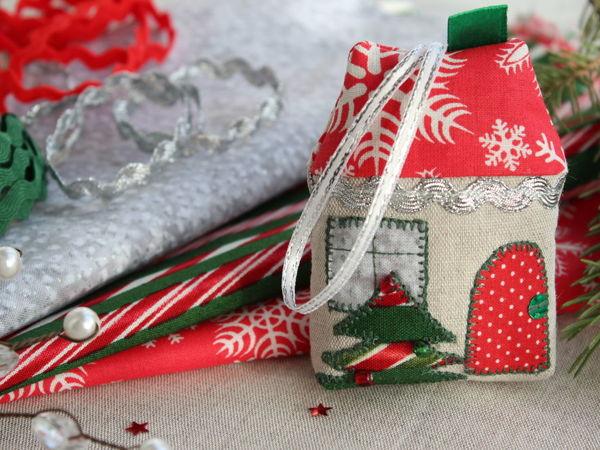 Шьем елочную игрушку Новогодний домик | Ярмарка Мастеров - ручная работа, handmade