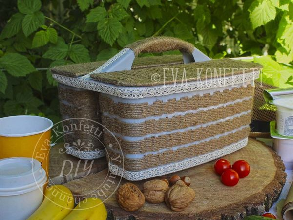 Делаем удобную корзину для пикника   Ярмарка Мастеров - ручная работа, handmade