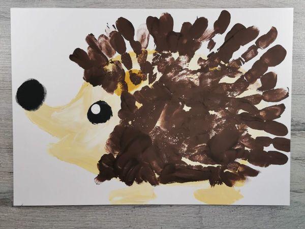 Как нарисовать ладошками ежика | Ярмарка Мастеров - ручная работа, handmade
