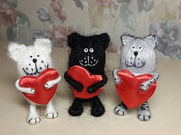«Моталки. Котик из ниток с сердцем» | Ярмарка Мастеров - ручная работа, handmade