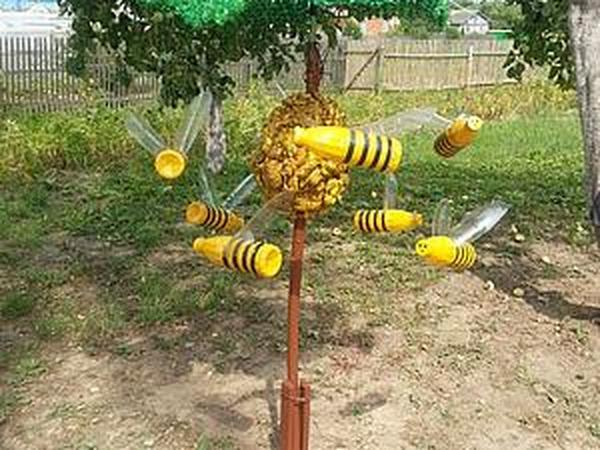 Весёлые пчёлки из пластиковых бутылок своими руками   Ярмарка Мастеров - ручная работа, handmade