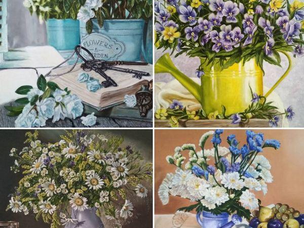 Серия картин  «Цветочный натюрморт» | Ярмарка Мастеров - ручная работа, handmade