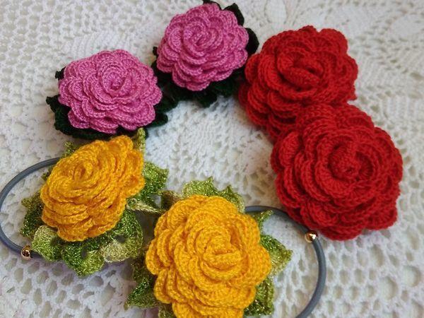 Вяжем крючком украшения-резиночки для волос в виде розы | Ярмарка Мастеров - ручная работа, handmade