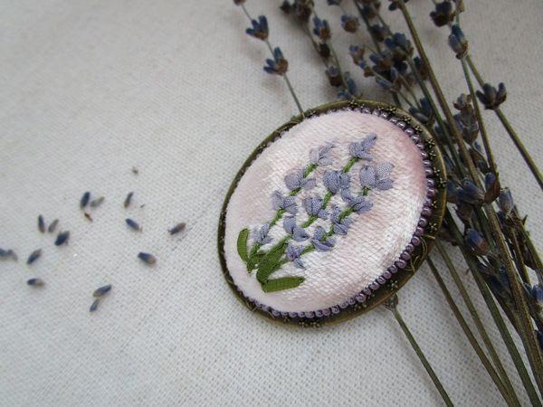 Вышиваем брошь с лавандой | Ярмарка Мастеров - ручная работа, handmade