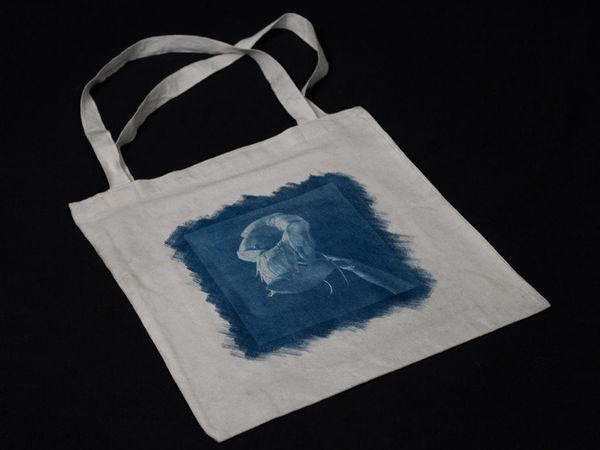 Как украсить авторским принтом холщовую сумку. Работаем в технике цианотипии | Ярмарка Мастеров - ручная работа, handmade