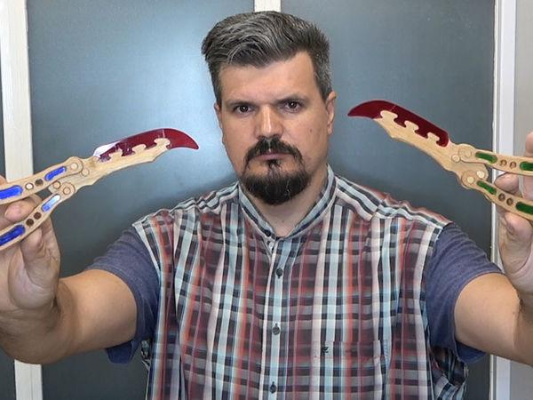 Делаем деревянный нож-бабочку с инкрустацией оргстеклом | Ярмарка Мастеров - ручная работа, handmade