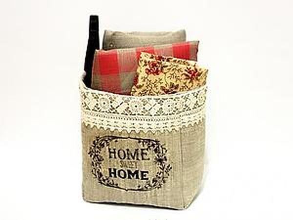 Шьем текстильную корзинку в винтажном стиле   Ярмарка Мастеров - ручная работа, handmade