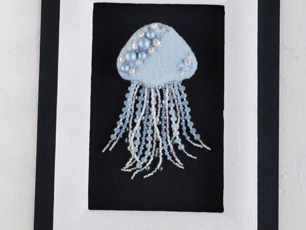 Видео брошь медуза Голубая мечта   Ярмарка Мастеров - ручная работа, handmade