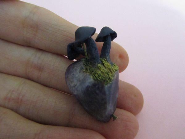 Лепим гриб из полимерной глины на аметистовом камне   Ярмарка Мастеров - ручная работа, handmade