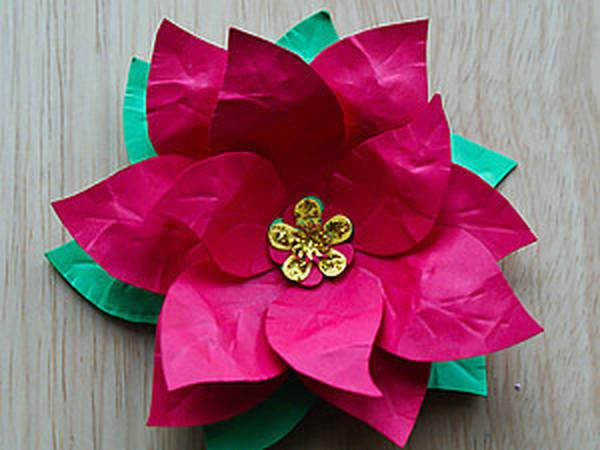 МК: Новогодняя Пуансеттия | Ярмарка Мастеров - ручная работа, handmade