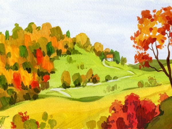 Мк Анны Подивиловой , пейзаж  «оСенние Холмы» | Ярмарка Мастеров - ручная работа, handmade