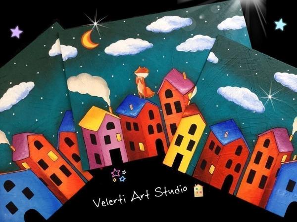 Акция на Картину-триптих в Детскую  «Волшебный сон лисёнка»   Ярмарка Мастеров - ручная работа, handmade