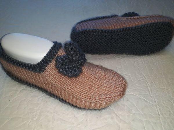 Вяжем тапочки-следочки  «Мокасины»  2 спицами без швов | Ярмарка Мастеров - ручная работа, handmade