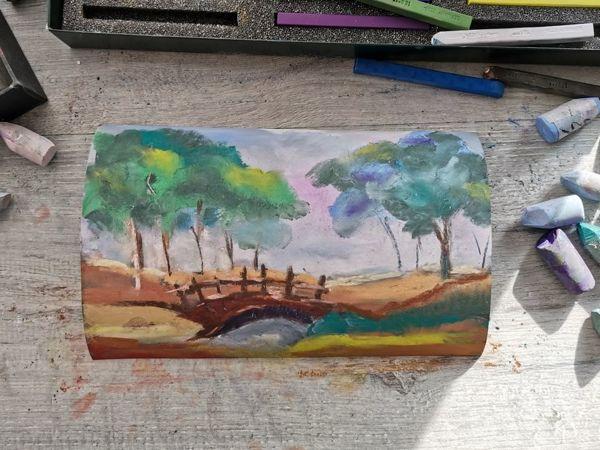 Рисуем сухой пастелью на наждачной бумаге «Мостик» | Ярмарка Мастеров - ручная работа, handmade