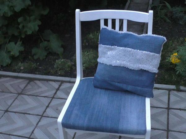 Шьем стильную подушку из джинсов | Ярмарка Мастеров - ручная работа, handmade