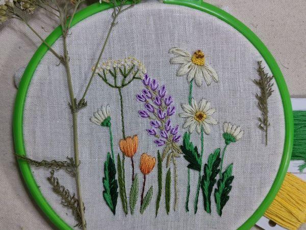 Вышиваем полевые цветы гладью: урок для начинающих | Ярмарка Мастеров - ручная работа, handmade