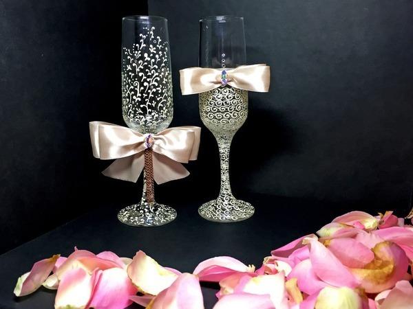 Декор свадебных бокалов «Айвори» | Ярмарка Мастеров - ручная работа, handmade